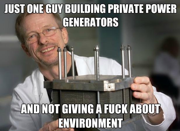 Private power generators meme