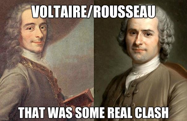 Voltaire Rousseau clash meme