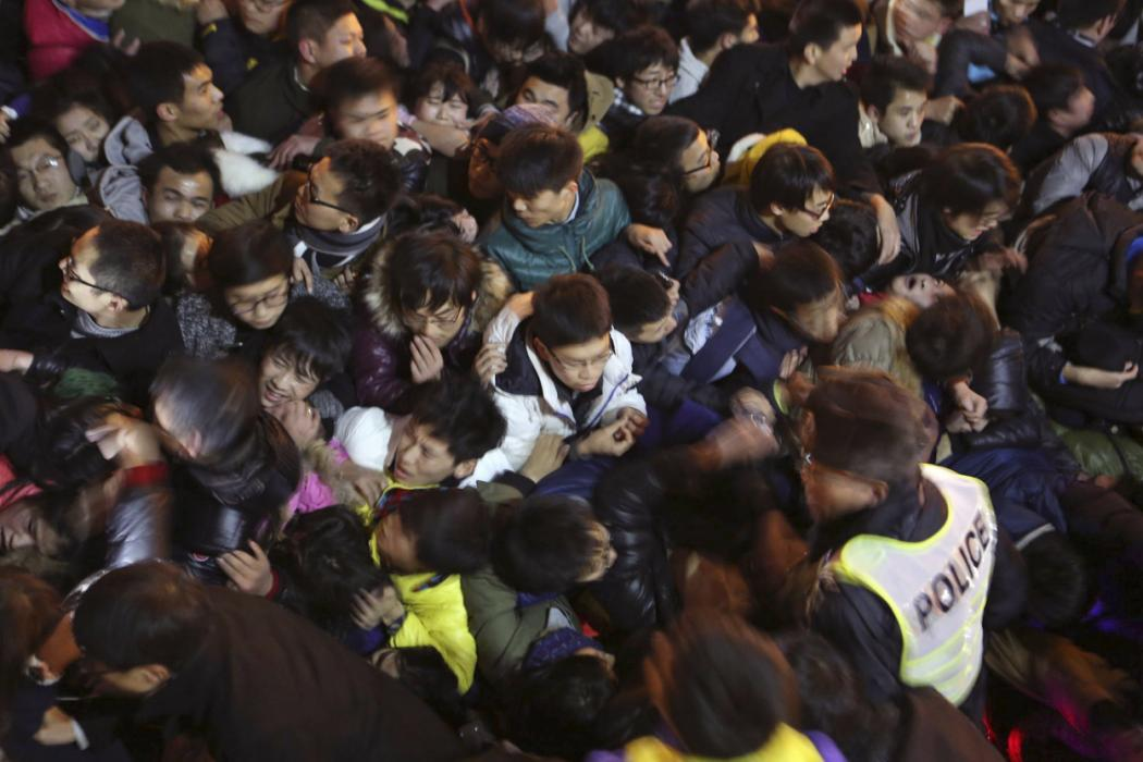 A view of a stampede is seen during the New Year's celebration on the Bund, a waterfront area in central Shanghai