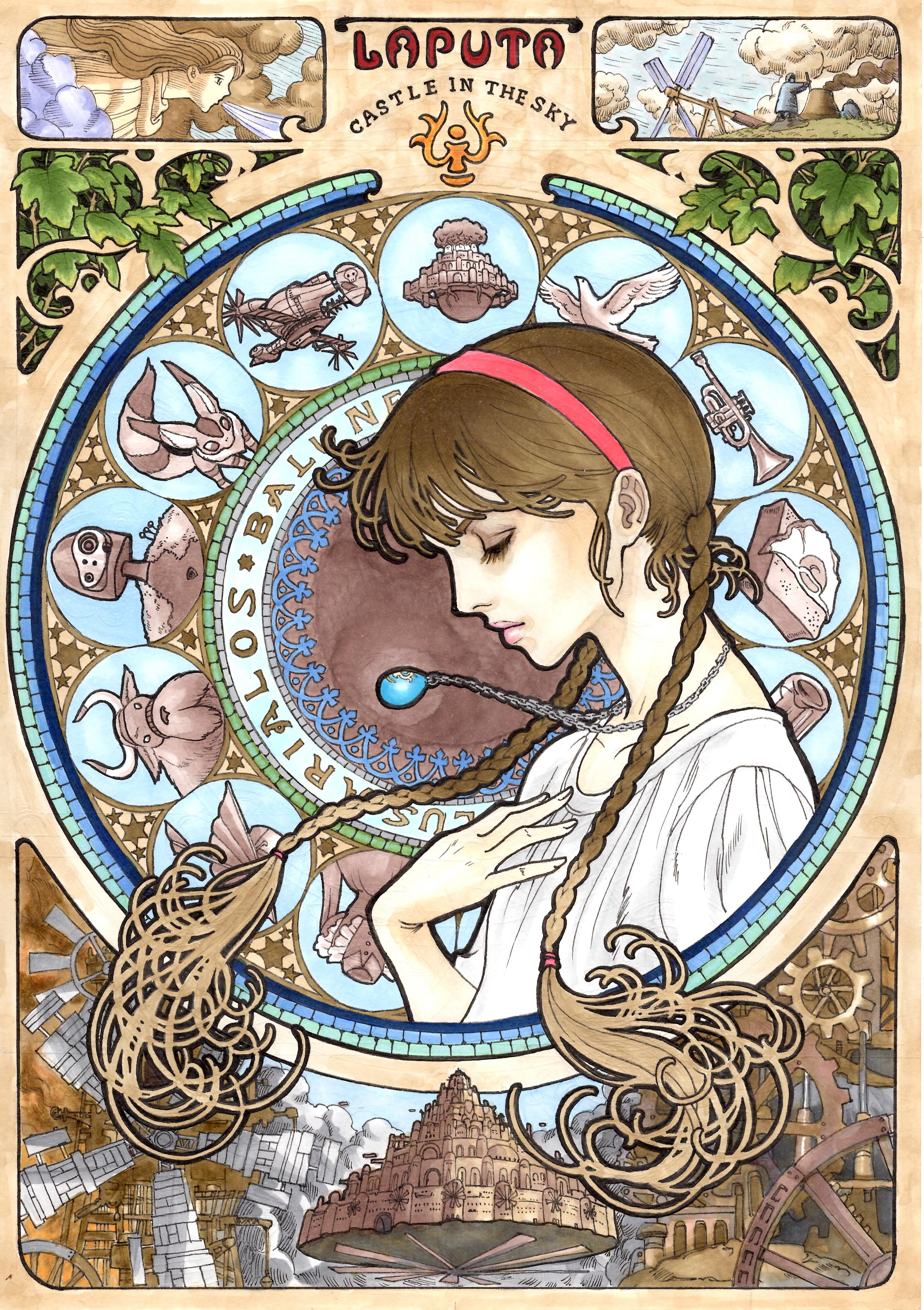 Art-Nouveau-Ghibli-Chateau-Ciel