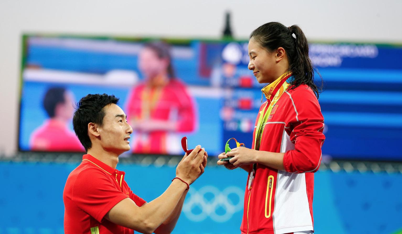 Rio-2016-Demande-Mariage-He-Zi-Qin-Kai-Plongeon-2